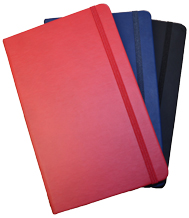 Red, navy blue and black faux leather journal with pocket
